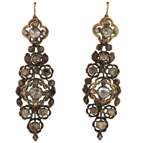 image of Antique Diamond Silver Gold Long Earrings