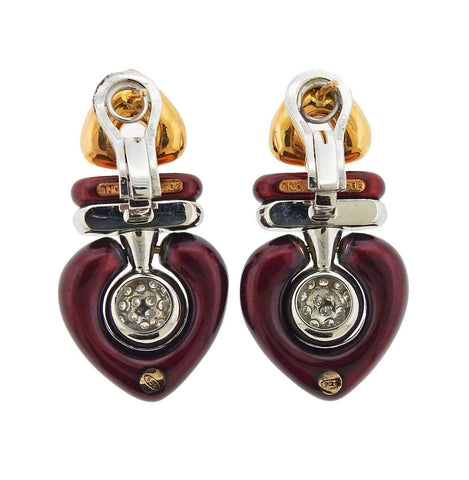 image of La Nouvelle Bague Two Tone Gold Diamond Enamel Earrings