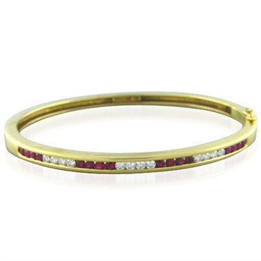 image of Tiffany & Co 18k Gold Diamond Ruby Bangle Bracelet