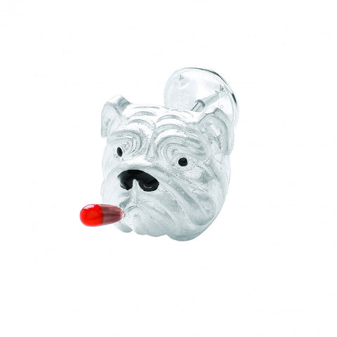image of Deakin & Francis Sterling Silver Enamel Bulldog with Cigar Lapel Pin