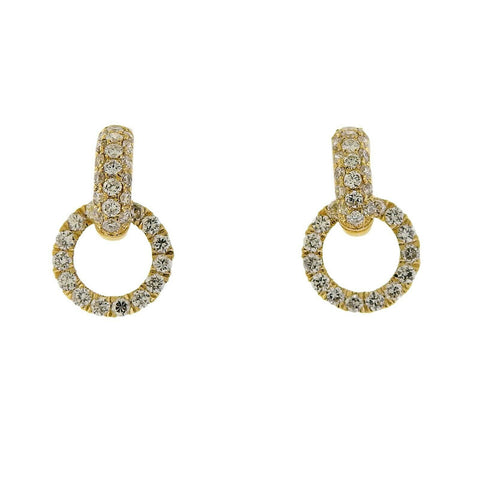 image of Odelia 18k Yellow Gold Diamond Circle Link Earrings