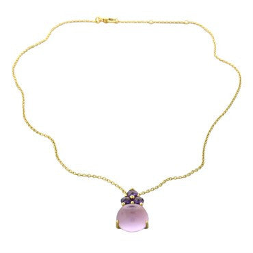 thumbnail image of New Pomellato Luna 18k Gold Pink Quartz Amethyst Pendant Necklace