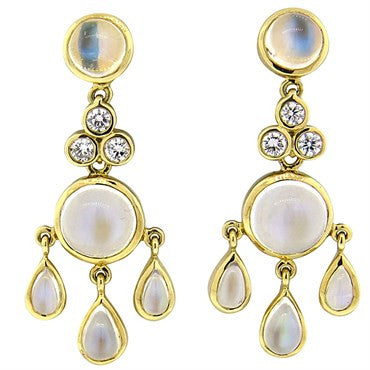 thumbnail image of Temple St. Clair Moonstone Diamond 18k Gold Drop Earrings