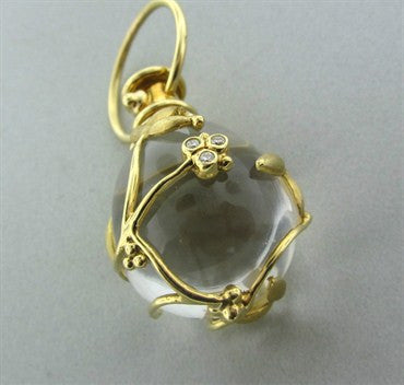 image of Estate Temple St. Clair 18K Gold Diamond Crystal Vine Amulet Pendant