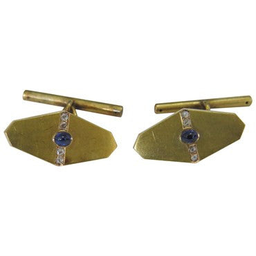 image of Beautiful Antique Sapphire Rose Cut Diamond Gold Cufflinks