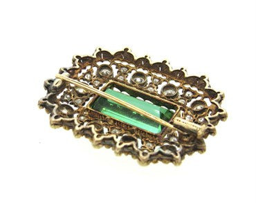 thumbnail image of Impressive Buccellati Green Tourmaline 3.00ctw Diamond Gold Brooch Pin
