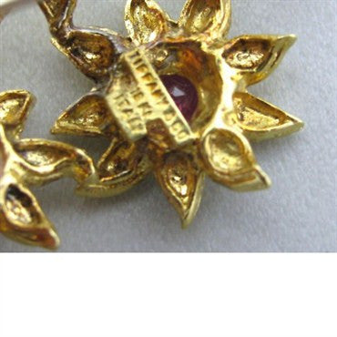 image of Vintage Tiffany & Co 18k Gold Ruby Floral Brooch Pin