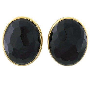 thumbnail image of New Pomellato Victoria 18k Gold Faceted Jet Earrings