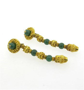 thumbnail image of Impressive Greek Nephrite 18k Gold Chimera Long Drop Earrings