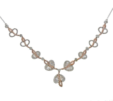 image of Gregg Ruth 2.17ctw White Pink Diamond Gold Necklace