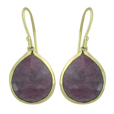 image of New Ippolita 18K Gold Ruby Rock Candy Teardrop Earrings