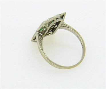 thumbnail image of 1920s Art Deco European Diamond Emerald Gold Ring