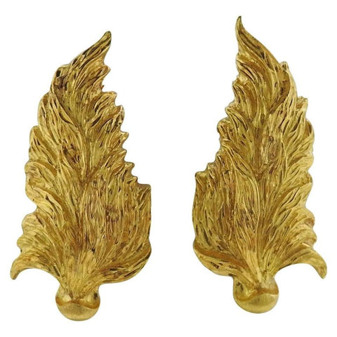 Large Buccellati Gold Leaf Motif Earrings