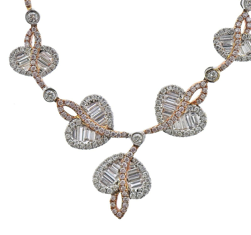 thumbnail image of Gregg Ruth 2.17ctw White Pink Diamond Gold Necklace