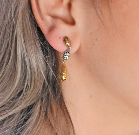 image of John Hardy Sterling Silver Gold Teardrop Earrings