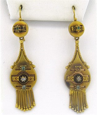 image of Antique Circa 1870s Gold Diamond Emerald Bracelet Earrings Brooch Set
