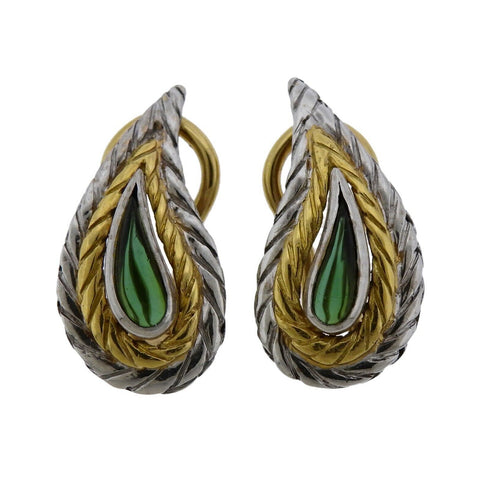 image of Buccellati 18k Two Tone Gold Tourmaline Teardrop Earrings