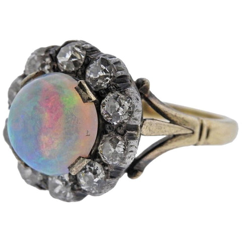 image of Antique Opal Diamond Gold Silver Ring