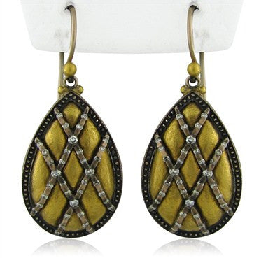 thumbnail image of New Gurhan Capitone Collection 24K Gold Diamond Teardrop Earrings