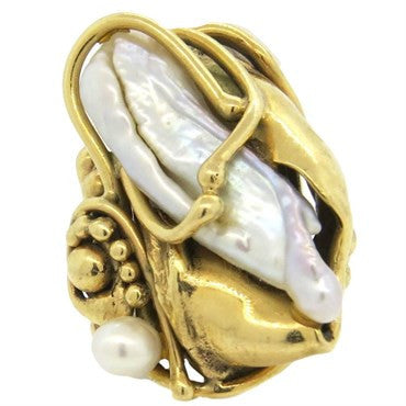image of Large Naturalistic Pearl 14k Gold Large Ring