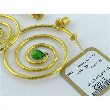 image of New Large Hoop Gurhan 24k Gold Peridot Earrings