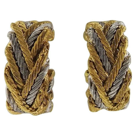 Buccellati Two Color Gold Hoop Earrings
