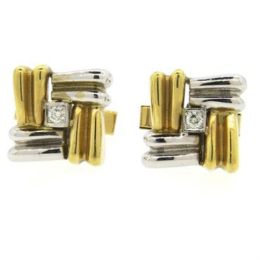 image of Classic Diamond Two Color 14k Gold Cufflinks