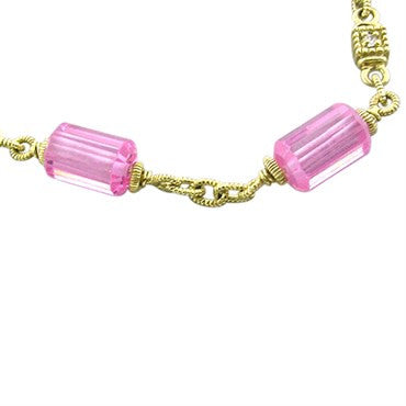 image of Judith Ripka 18K Yellow Gold Rose Quartz Necklace