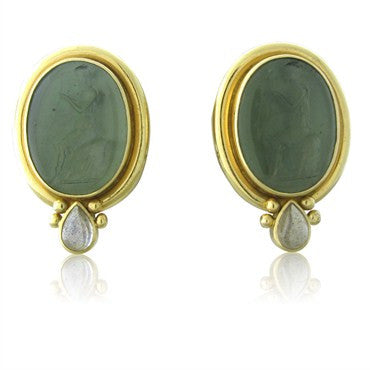 image of Elizabeth Locke 18K Gold Venetian Glass Intaglio Moonstone Earrings