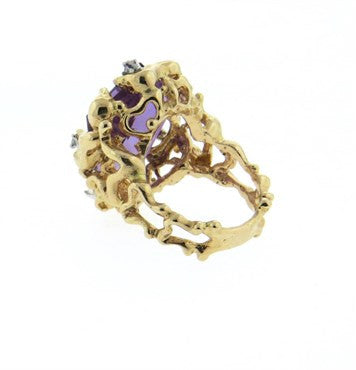 thumbnail image of 1970s Amethyst Diamond Free Form 14k Gold Ring