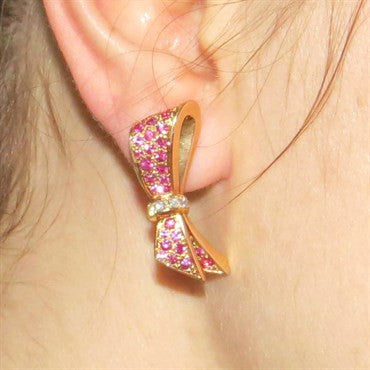 thumbnail image of Van Cleef & Arpels Pink Sapphire Diamond 18K Gold Bow Earrings