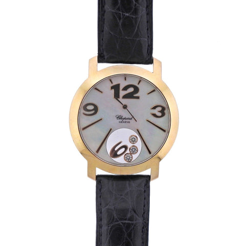 image of Chopard Happy Sport Gold Mother of Pearl Floating Diamond Watch 207449/5003