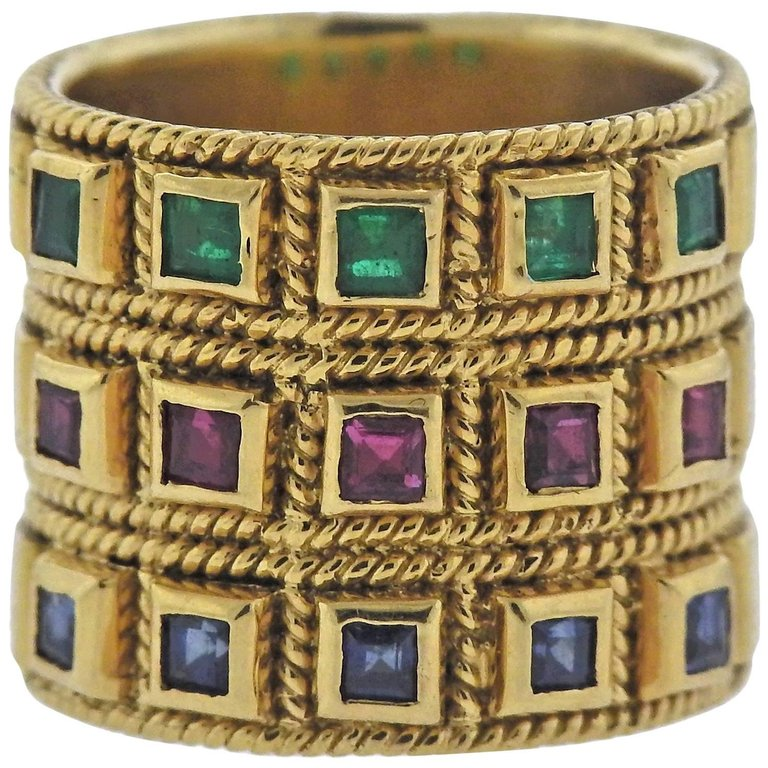 thumbnail image of Sapphire Ruby Emerald 18k Gold Wide Band Ring