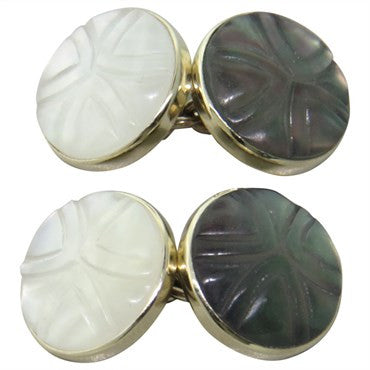 thumbnail image of Trianon Carved Crystal Black and White Mother of Pearl Gold Cufflinks
