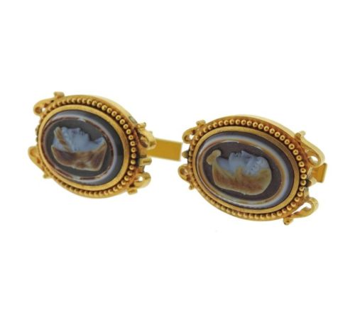 thumbnail image of Antique Victorian Hardstone Cameo 18k Gold Cufflinks