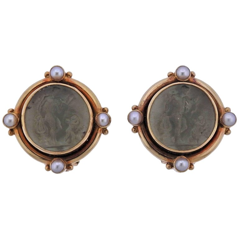 thumbnail image of Elizabeth Locke Venetian Glass Intaglio Pearl Gold Earrings