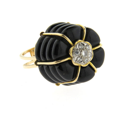 1970s Funky 14k Gold Diamond Onyx Ring