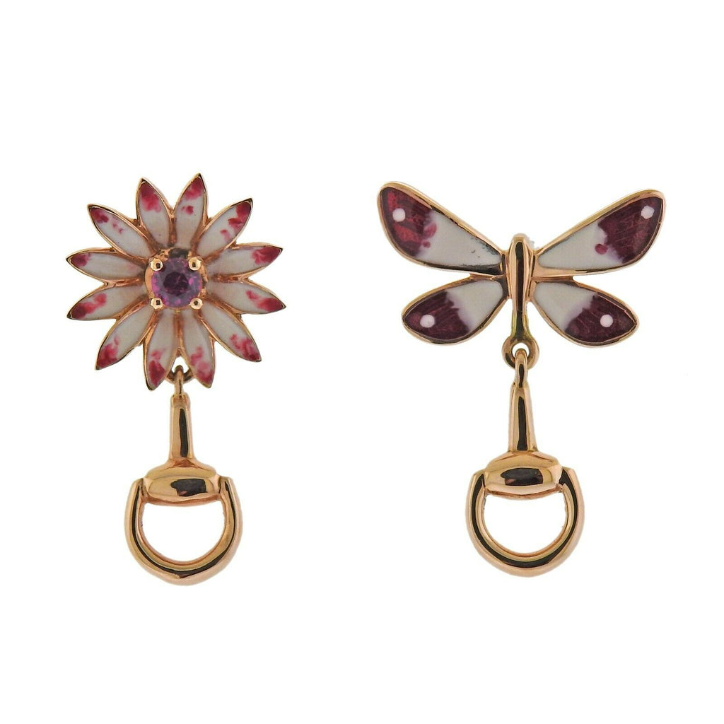 thumbnail image of Gucci Flora Horsebit Rose Gold Enamel Ruby Butterfly Flower Earrings