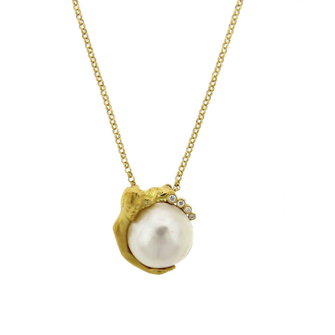 Carrera Y Carrera 18k Gold Diamond Pearl Pendant Necklace