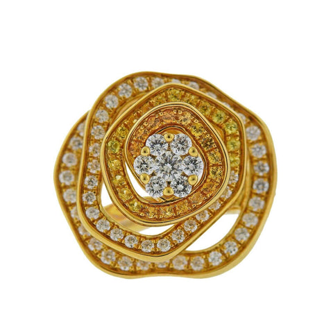 image of Valente Yellow Sapphire Diamond Gold Flower Ring