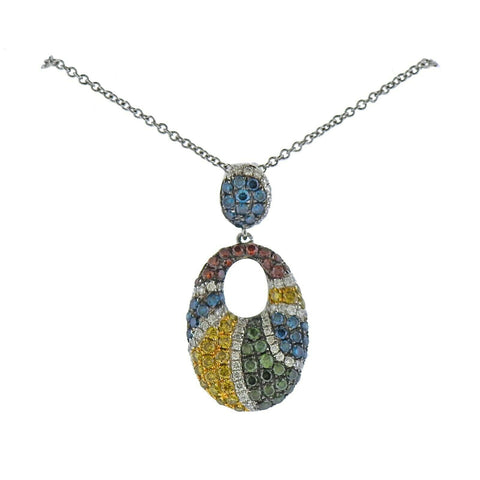 image of Le Vian LeVian Gold Multi Color Diamond Pendant Necklace