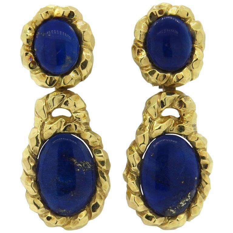 thumbnail image of Wander France Lapis Gold Drop Earrings