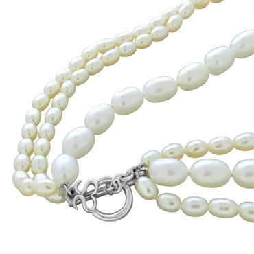 thumbnail image of Slane & Slane Sterling Silver Pearl Multi Strand Necklace