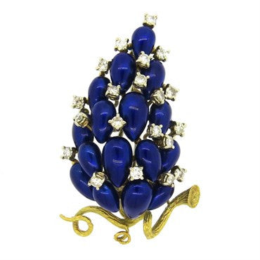 image of Exquisite Orletto Blue Enamel 1.20ctw Diamond 18k Gold Brooch Pin