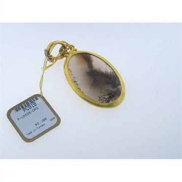 thumbnail image of New Gurhan 24k Gold Moss Agate Charm Pendant