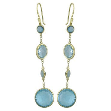 thumbnail image of New Ippolita 18K Gold London Blue Topaz Four Drop Rock Candy Earrings