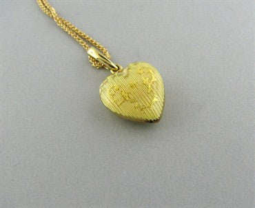 thumbnail image of Faberge 18K Gold Yellow Enamel Heart Pendant Necklace