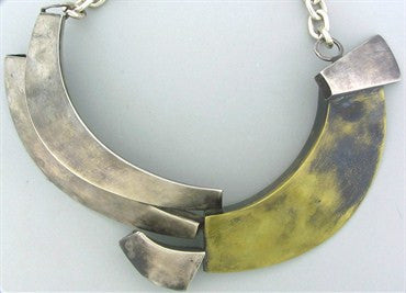 image of Robert Lee Morris Mixed Metal Silver Impressive Free Form Necklace