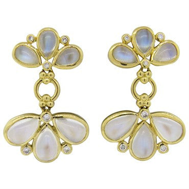 thumbnail image of Temple St. Clair Moonstone Diamond Gold Fan Drop Earrings