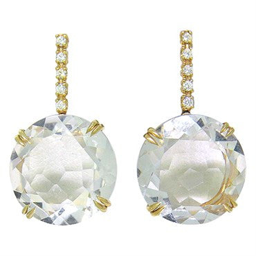 thumbnail image of H. Stern Cobblestone 18k Gold Diamond Crystal Drop Earrings